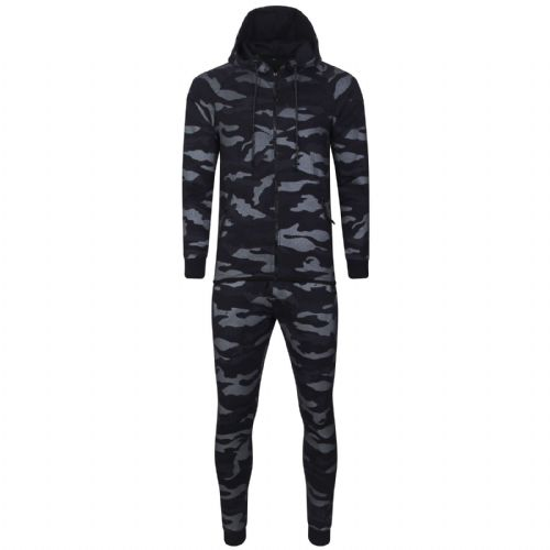 Mens Italian DG Designer fitted Hooded Tracksuit Navy Camouflage Print Fabric detail